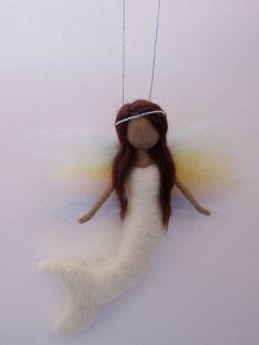 Needle Felted Mermaid, Rainbow-Mermaid, Guardian Angel- Girls birthday present, Hanging art-Waldorf,Needle felted by FeltandGrain