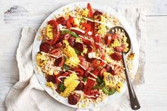 Summer Salad Recipes, Summer Salads, Chipotle Mayonnaise, Pearl Couscous, Barbecue Grill, Serving Plates, Chorizo, Vegetable Pizza