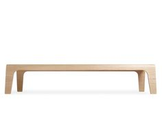 BeamStackable bench module produced in one single beautiful piece of lightweight plywood. Madein Belgium for Lensvelt.