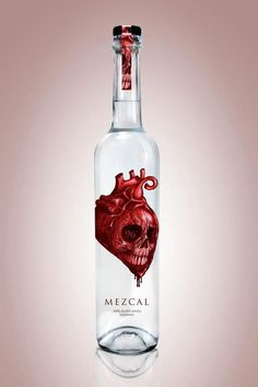 Thaby, Gabriela thanks for pinning the can. Here's a bottle with the same graphic Mezcal Corazón by Cesar Nandez. Spooky #packaging PD