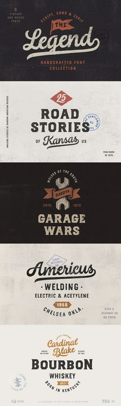 The Legend Trio - This font trio was crafted by hand under inspiration of traditional american typography a...