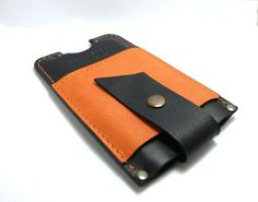 Sleeve for Iphone 6 Handmade from black with orange by TIZART