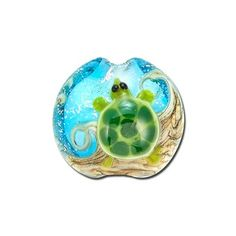 15mm Handmade Turtle Cove Lampwork Glass Lentil Beads by Grace Lampwork