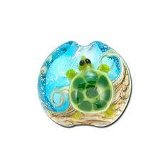 15mm Handmade Turtle Cove Lampwork Glass Lentil Beads by Grace Lampwork