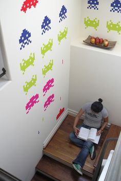 space invader wall decals $38 - entry way