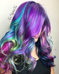 Hair Color by XoStylistXo  Beauty: Fantasy Unicorn Purple Violet Red Cherry Pink yellow Bright Hair Colour Color Coloured Colored Fire Style curls haircut lilac lavender short long mermaid blue green teal orange hippy boho ombré woman lady pretty selfie style fade makeup grey white silver trend trending multi confetti   Pulp Riot