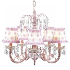 Jubilee Pink 5 Arm Waterfall Chandelier with Pink Floral Shades