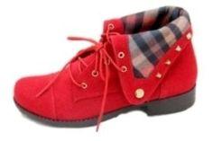 Bota Cristhi Shoes Lapela Xadrex Vermelho