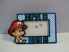 """Mario """"Its a Boy"""" Maternity Perler Frame by Yumes Pixel Crafts   NES Nintendo Super Mario Brothers"""