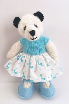 Excited to share the latest addition to my shop: Knitted Panda Etsy Uk, Small Businesses, Pretty Dresses, Reindeer, Panda, Buy And Sell, Teddy Bear, Etsy Shop, Knitting