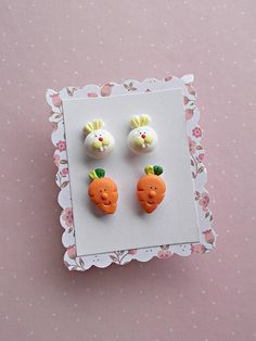 Easter earrings set created from polymer clay without using molds of forms. The lenght of each earring is 1.2 cm. The price is for one set of 4 earrings, as in pictures: 2 rabbits and 2 carrots. ❀ Because i make everything by hand, the item you receive may differ slightly than shown on the