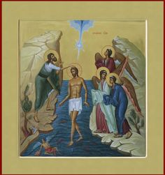 Theophany [Baptism] of The Lord Byzantine Icons, Byzantine Art, Baptism Of Christ, Worship Backgrounds, Roman Church, Images Of Christ, Saint Esprit, Russian Icons, John The Baptist