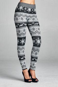 Nordic Print Fleece Lined Legging - Black