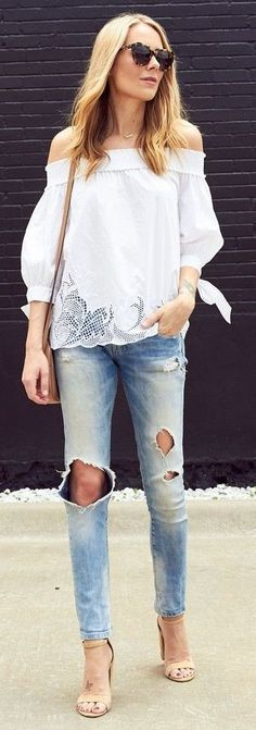 #summer #fashion #outfitideas White Cutout Off The Shoulder Top + Ripped Denim
