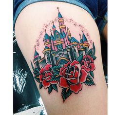 """The castle on @laroja_jess by @alvin_aldridge! #disneytattoos #disneytattoo #disneytatts #disney #disneyland #disneyworld #instadisney #ilovedisney…"""