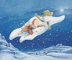illustratie uit 'The Snowman' van Raymond Briggs. Zo'n ongelooflijk mooie ontroerende tekenfilm!