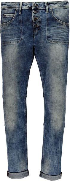 Modische Jeansmit vertieftem Schritt, Teilungsnähten und sichtbarer Knopfleiste. Diese Hose hat aufgesetzte Taschen und eine ganz schöne, authentisch Waschung. Ideal für den lässigen Jeans-Look. 91 % Baumwolle, 7 % Polyester, 2 % Elasthan....