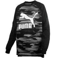 Puma Graphic Raglan Tee Mens 570614-01 Black Long Sleeve Cotton T-Shirt Size XL