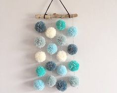 Pom Pom Hanging, Small Driftwood Garland, Nursery Decor, CUSTOM - Pompoms Best Picture For nature crafts For Your Taste You are looking for something, and it is go - Pom Pom Crafts, Yarn Crafts, Diy And Crafts, Crafts For Kids, Arts And Crafts, Pom Pom Diy, Pom Pom Garland, Hanging Pom Poms, Cute Crafts