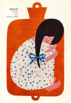 Lora Lamm Illustration - 1961 advertisment for a rubber hot water bottle. I want a hotty today...via Flickr