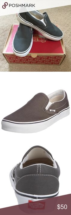 NWT Vans Gray Slip Ons New with box gray Vans slip Ons. Box says 5.5 but definitely is a size 6. Vans Shoes Sneakers