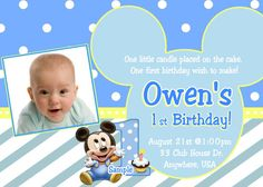 Baby Mickey 1st Birthday Invitation / Baby por Createphotocards4u