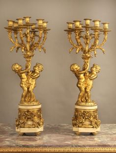 A Very Fine Pair of Late 19th Century Gilt Bronze and Marble Seven Light Candelabra