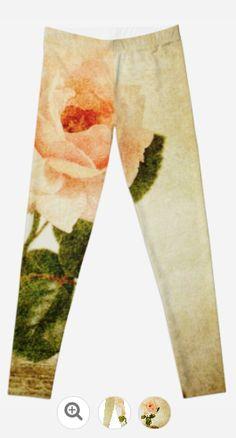 Vintage Rose Legging - JUSTART - Redbubble #justart #rb #redbubble #legging #fashion #clothing #rose #vintage #floral #texture #flower #Pink #green