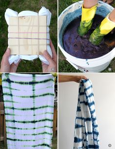shibori indigo dye tutorial DIY I'm in love with this! Fabric Dyeing Techniques, Tie Dye Techniques, How To Tie Dye, How To Dye Fabric, Tie Dye Crafts, Diy Crafts, Afrique Art, Shibori Tie Dye, Diy Scarf