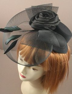 Black Fascinator with mesh net and fabric by ClarasBoutiqueUSA, $19.00