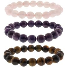 Amazon.com: 10mm Rose Quartz, Purple Amethyst and Tiger's Eye Stretchy Bracelet Set of Three: Stretch Bracelets: Jewelry