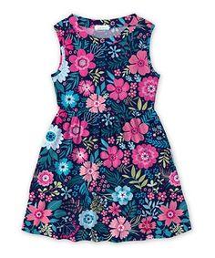 Loving this Navy Floral A-Line Dress - Toddler & Girls on #zulily! #zulilyfinds