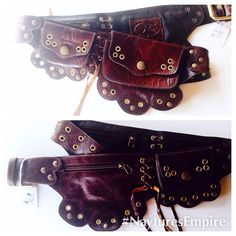 9f7d78a947e Sale Dark brown leather Lilac utility belt/ Fanny pack/ pocket belt/ belt  bag
