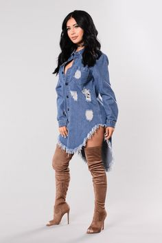 Available in Denim Oversized Distressed Denim Tunic Frayed Hem Cotton Polyester Imported Disclaimer- Due To The Distressing Process, Each Garment Is Unique. Fall Fashion Outfits, Denim Fashion, Look Fashion, Autumn Fashion, Fashion Dresses, Womens Fashion, Classy Outfits, Casual Outfits, Cute Outfits