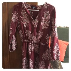 Madewell Silk Lassi Flower Dress Color: Rusted burgundy Madewell Dresses Long Sleeve