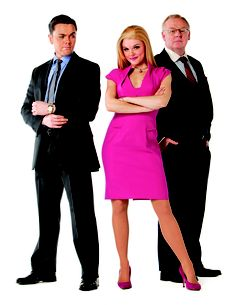 Ray as Warner Huntington lll,with Les Dennis as Professor Callaghan and Faye Brookes as Elle Woods