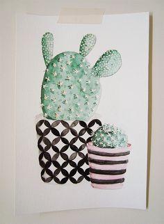 """""""Cactus"""" watercolor illustration by Marina Prado #cactus #watercolor #illustration"""