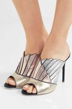 Malone Souliers | Donna metallic leather mules | NET-A-PORTER.COM