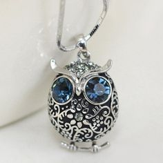 $8.75 Classic Rhinestone Owl Pendant Sweater Chain Necklace For Women