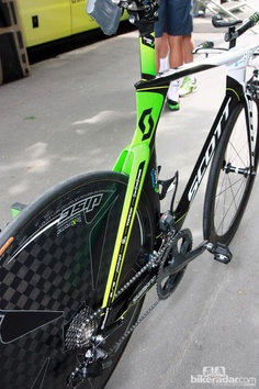 Check out the radical tube shaping on Orica-Greenedge's Scott Plasma 3 time trial frames.