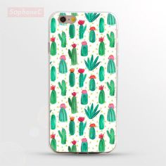"""Ultrathin Soft """" Cactus Collage """" TPU Case for iPhone 5 5s SE 6 6s 6 Plus Phone Case/Cover"""