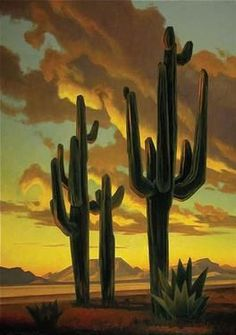 i love these cactus's all over the southwest. Art And Illustration, Gravure Illustration, Illustrations, Landscape Art, Landscape Paintings, Landscapes, Desert Landscape, Southwestern Art, Southwestern Paintings