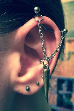Industrial Piercing Barbell Chain Spike Charm