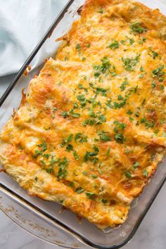 Creamy and EASY Chicken Enchiladas made with flour tortillas and stuffed with chicken, cheese, sour cream and more - so simple and tasty! Shredded Beef Enchiladas, Green Chili Enchiladas, Sour Cream Enchiladas, Creamy Chicken Enchiladas, Cheesy Enchiladas, Enchilada Casserole, Enchilada Recipes, Casserole Recipes, Chicken Casserole