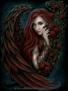 Dark angel and roses