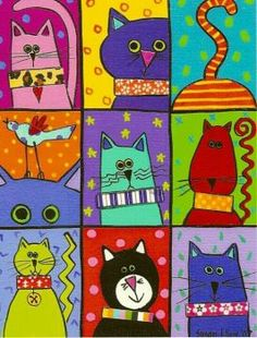 Cats Susan Kline — Martine, I know you did one pic of cats by this artist. Was… Katzen Susan Kline – Martine, ich weiß, dass [. Photo Chat, Cat Quilt, Funky Art, Cat Drawing, Drawing Ideas, Whimsical Art, Art Plastique, Elementary Art, Animal Drawings