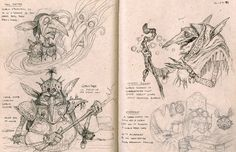 A selection of magic the gathering sketches.1997 Tony Diterlizzi