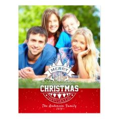 Merry Christmas Happy New Year Greeting Photo Card - postcard post card postcards unique diy cyo customize personalize