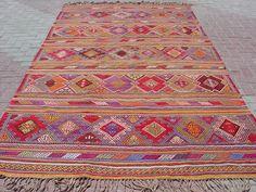 """VINTAGE Turkish Area Rug Kilim Carpet Cicim (Embroidered), Area Rug,Decorative Rug,Turkish Rug,  71,6"""" X 126"""""""