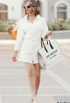 Jumpsuit Outfit, White Shorts, Saint Laurent, Outfits, Women, Fashion, Moda, Suits, Women's